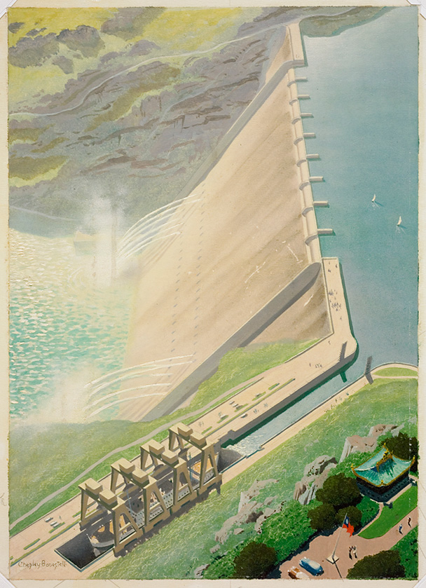 Yangtze Dam in China by Chesley K. Bonestell