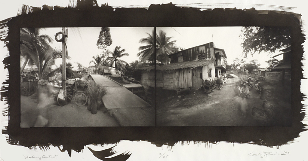 Diptych of Vietnam village. Left image: wooden bridge, bicycle, shacks, and palm trees. Right image: shacks along narrow dirt road with man working in foreground.