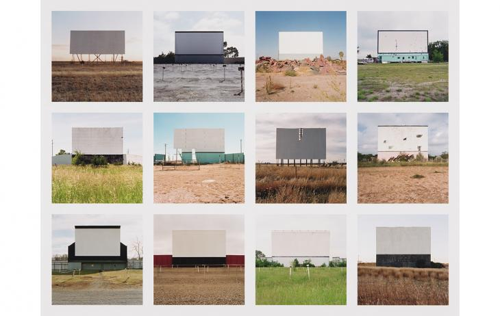 A collage of 12 photographs, 4 columns and 3 rows, that shows 12 abandoned drive-in movie theaters