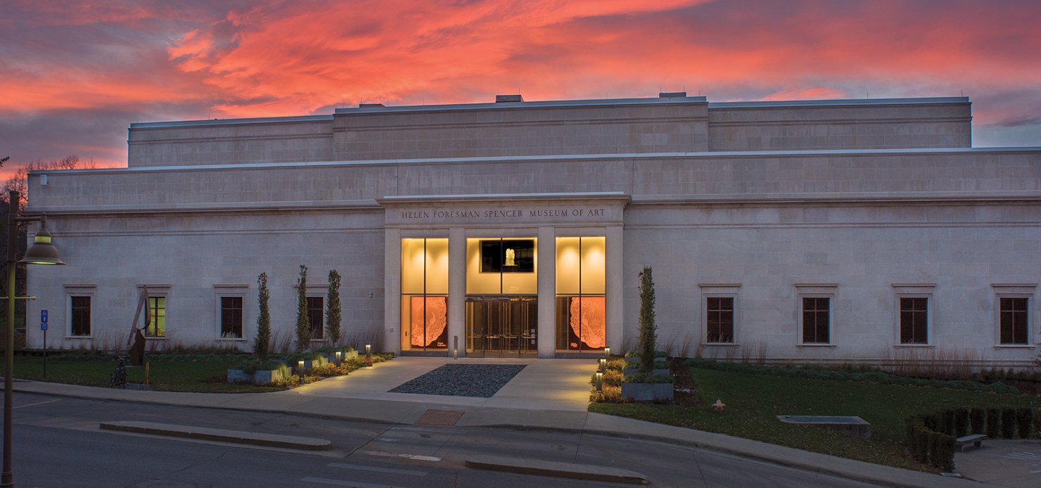 Exterior of the Spencer Museum at Sunset