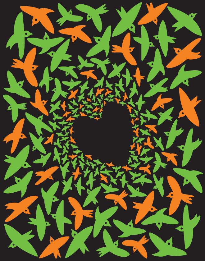 A design with a black background shows bright green and orange abstracted birds flying in different directions and forming a heart space in the center with negative space