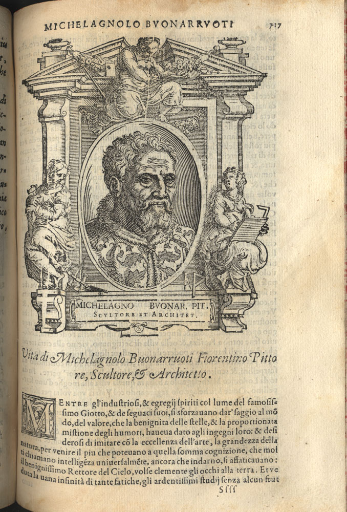 Woodcut portrait of Michelangelo from the offprint of Vasari's Life of Michelangelo