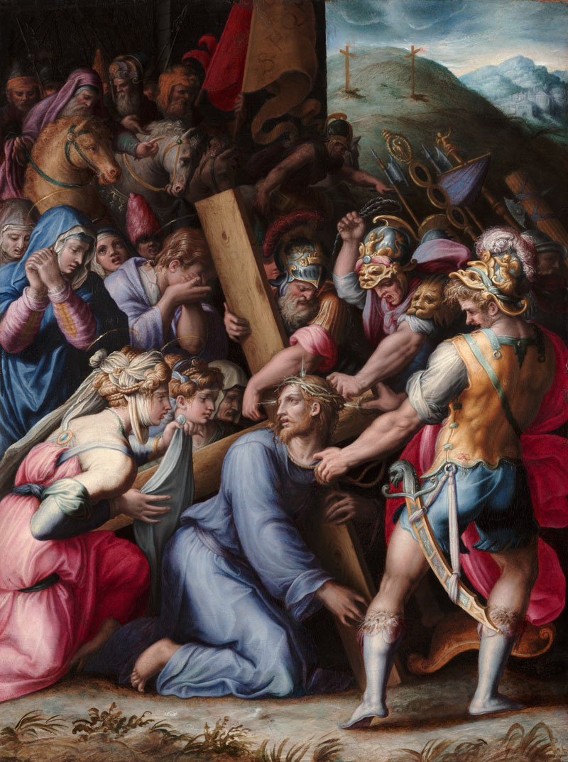 Detail of Vasari's Christ Carrying the Cross during cleaning