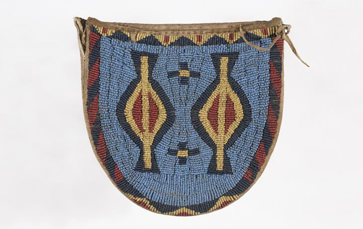 Arapaho peoples beaded pouch, late 1800s–1879