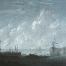 <a href='http://collection.spencerart.ku.edu/eMuseumPlus?service=ExternalInterface&module=collection&objectId=12417&viewType=detailView' target='_blank'><i>Seacoast with Ships</i> by Pierre-Jacques Volaire</a>