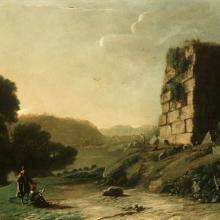 "<a href=""https://spencerartapps.ku.edu/collection-search#/object/13238"" target=""_blank""><i>An Idyll (Pastoral landscape)</i> by Claude Lorrain</a>"