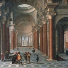 <a href='http://collection.spencerart.ku.edu/eMuseumPlus?service=ExternalInterface&module=collection&objectId=14546&viewType=detailView' target='_blank'><i>Church Interior</i> by Anthonie Palamedesz</a>
