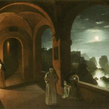 "<a href=""https://spencerartapps.ku.edu/collection-search#/object/48"" target=""_blank""><i>Nuns in the Certosa Cloister, overlooking a Moonlit Sea towards the Faraglioni, Capri</i> by Franz Ludwig Catel</a>"