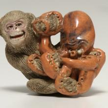 <a href='http://collection.spencerart.ku.edu/eMuseumPlus?service=ExternalInterface&module=collection&objectId=3478&viewType=detailView' target='_blank'><i>netsuke (Octopus and Monkey)</i>, Japan</a>
