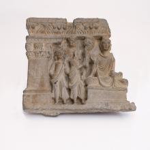 <a href='http://collection.spencerart.ku.edu/eMuseumPlus?service=ExternalInterface&module=collection&objectId=9056&viewType=detailView' target='_blank'><i>Buddha and Disciples</i> by Gandhara (present-day Afghanistan and Pakistan)</a>
