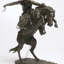 "<a href=""https://spencerartapps.ku.edu/collection-search#/object/9412"" target=""_blank""><i>The Bronco Buster</i> by Frederic Remington</a>"