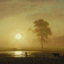 "<a href=""https://spencerartapps.ku.edu/collection-search#/object/10190"" target=""_blank""><i>Sunset on the Plains</i> by Albert Bierstadt</a>"