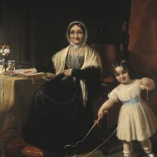 <a href='http://collection.spencerart.ku.edu/eMuseumPlus?service=ExternalInterface&module=collection&objectId=10193&viewType=detailView' target='_blank'><i>Mrs. Stiles and Grandchild</i> by Samuel Bell Waugh </a>