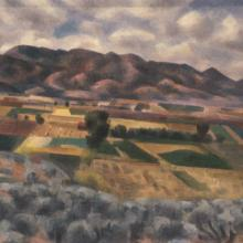 "<a href=""https://spencerartapps.ku.edu/collection-search#/object/10955"" target=""_blank""><i>Taos Valley</i> by Andrew Michael Dasburg</a>"