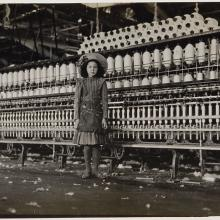 <a href='http://collection.spencerart.ku.edu/eMuseumPlus?service=ExternalInterface&module=collection&objectId=11080&viewType=detailView' target='_blank'><i>Young Girl in Textile Factory</i> by Lewis Wickes Hine</a>