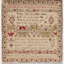 <a href='http://collection.spencerart.ku.edu/eMuseumPlus?service=ExternalInterface&module=collection&objectId=11157&viewType=detailView' target='_blank'><i>untitled alphabet sampler</i> by Martha Mynott </a>