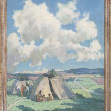 "<a href=""https://spencerartapps.ku.edu/collection-search#/object/12256"" target=""_blank""><i>Apache Indian Camp in Taos Valley</i> by Eanger Irving Couse </a>"