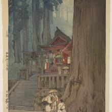 <a href='http://collection.spencerart.ku.edu/eMuseumPlus?service=ExternalInterface&module=collection&objectId=12305&viewType=detailView' target='_blank'><i>Misty Day in Nikkō</i> by Hiroshi Yoshida</a>