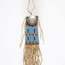 <a href='http://collection.spencerart.ku.edu/eMuseumPlus?service=ExternalInterface&module=collection&objectId=35302&viewType=detailView' target='_blank'><i>strike-a-light bag</i> by Kiowa peoples</a>