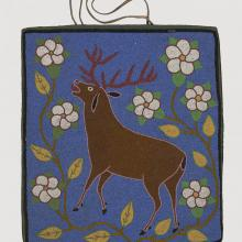 <a href='http://collection.spencerart.ku.edu/eMuseumPlus?service=ExternalInterface&module=collection&objectId=32635&viewType=detailView' target='_blank'><i>beaded bag with elk design</i> by Flathead peoples</a>