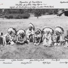 <a href='http://collection.spencerart.ku.edu/eMuseumPlus?service=ExternalInterface&module=collection&objectId=40630&viewType=detailView' target='_blank'><i>photograph of the reunion of the survivors of Little Big Horn</i> by Bill Groethe</a>