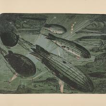 <a href='http://collection.spencerart.ku.edu/eMuseumPlus?service=ExternalInterface&module=collection&objectId=42720&viewType=detailView' target='_blank'><i>Flotte de Zeppelins attaquant l'Angleterre, 1916 (Fleet of Zeppelins Attacking England, 1916)</i> by Maurice Busset</a>