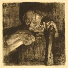"<a href=""https://spencerartapps.ku.edu/collection-search#/object/3090"" target=""_blank""><i>Beim Dengeln (Whetting the Scythe)</i> by Käthe Kollwitz</a>"
