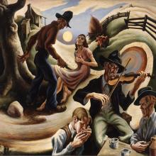 "<a href=""https://spencerartapps.ku.edu/collection-search#/object/9953"" target=""_blank""><i>The Ballad of the Jealous Lover of Lone Green Valley</i> by Thomas Hart Benton</a>"
