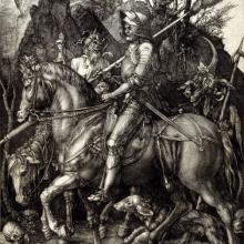 "<a href=""https://spencerartapps.ku.edu/collection-search#/object/10798"" target=""_blank""><i>Knight, Death, and the Devil</i> by Albrecht Dürer</a>"