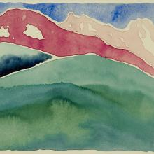 "<a href=""https://spencerartapps.ku.edu/collection-search#/object/12649"" target=""_blank""><i>Pink and Green Mountains, No. 1</i> by Georgia O'Keeffe</a>"