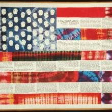 "<a href=""https://spencerartapps.ku.edu/collection-search#/object/17289"" target=""_blank""><i>Flag Story Quilt</i> by Faith Ringgold</a>"