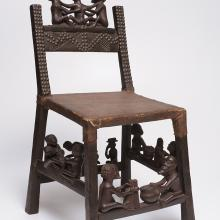 "<a href=""https://spencerartapps.ku.edu/collection-search#/object/32492"" target=""_blank""><i>ngunja (carved chair)</i> by Chokwe peoples</a>"