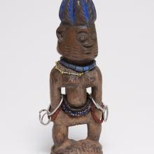 "<a href=""https://spencerartapps.ku.edu/collection-search#/object/36974"" target=""_blank""><i>ere ibegji (twin figure)</i> by Yoruba peoples</a>"