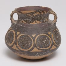 "<a href=""https://spencerartapps.ku.edu/collection-search#/object/44958"" target=""_blank""><i>pot with crosshatched medallions and looped handles</i> by Yangshao culture</a>"