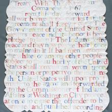 <a href='http://collection.spencerart.ku.edu/eMuseumPlus?service=ExternalInterface&module=collection&objectId=53137&viewType=detailView' target='_blank'><i>Broken Treaty Quilt #5</i> by Gina Adams</a>