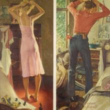 "<a href=""https://spencerartapps.ku.edu/collection-search#/object/9049"" target=""_blank""><i>Getting Ready for a Date</i> by Norman Rockwell</a>"
