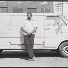 <a href='http://collection.spencerart.ku.edu/eMuseumPlus?service=ExternalInterface&module=collection&objectId=54861&viewType=detailView' target='_blank'><i>untitled (man leaning against van)</i> by Thaddeus Holownia</a>