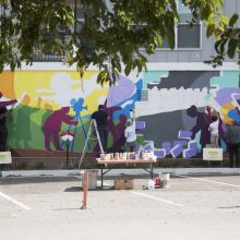 "Creation of ""Pollinators"" mural."