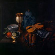 Still Life with Violin and Engraving of Arcengelo Corelli, School of Bourguignon