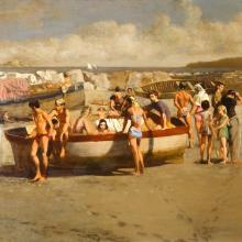 <a href='http://collection.spencerart.ku.edu/eMuseumPlus?service=ExternalInterface&module=collection&objectId=11057&viewType=detailView' target='_blank'><i>The Bathers</i> by Walter Stuempfig</a>