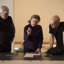 Senior Curator Stephen H. Goddard, artist Sandy Winters, and Exhibition Designer Richard Klocke discuss the plan for Winters's two large-scale installations