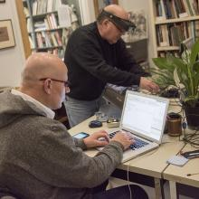 Artist Mathias Kessler and collaborating engineer George work on developing <i>After Nature (coding and re-coding nature)</i>