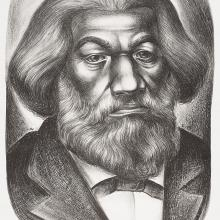 "<a href=""https://spencerartapps.ku.edu/collection-search#/object/46481"" target=""_blank""><i>Frederick Douglass</i> by Charles White<\/a>"