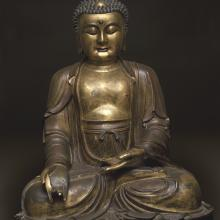<a href='https://spencerartapps.ku.edu/collection-search#/Object/4334' target='_blank'><i>Yaoshi fo (Medicine Buddha)</i> by unknown maker from China</a>